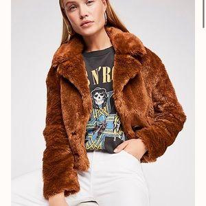 NWOT Free People Mena Faux Fur Coat